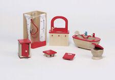 "Puppenhausmöbel Puppenmöbel BADEZIMMER ""natur"" 7-teilig Holz Möbel Puppenstube"