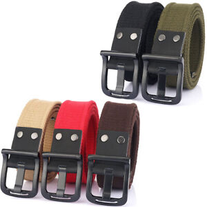 """1.5"""" Mens Casual Canvas Belt with Metal Single Prong Buckle Webbing Work Belts"""