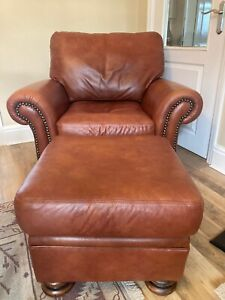John Lewis Leather Chair And Footstool