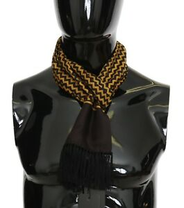 NEW DOLCE & GABBANA Scarf Brown Yellow Zigzag Pattern 100% Silk 140cmx15cm