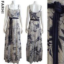 Designer NICOLE FARHI Blue and White Printed Maxi Dress Size 12