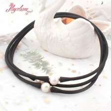 10mm Freshwater Pearl Natural Stone Silicone Bracelet  Necklace Fashion Jewelry