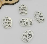 100/500PCS Tibetan Silver MADE WITH LOVE Charms Pendant For Jewelry 8x11mm