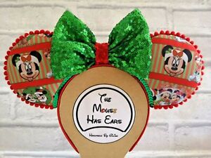 Custom Christmas Mickey and Minnie Mouse ears Disney classic red and green