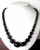Antique Victorian Whitby Jet Bead 23-Inch  Necklace