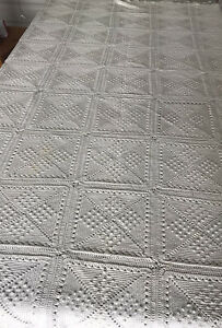 Vintage Crotchet Pantry White Square Fringed Bed Throw 180x226cm Handmade Heavy
