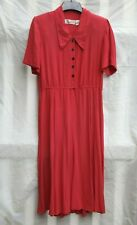 Vintage 80s 90s Red 100% Silk Dress Dot Button Front Dress Midi 6 M Medium