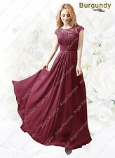 Sex Back Long Maxi Evening Bridesmaid Formal Party Prom Dress UK 8-24 Burgundy 22