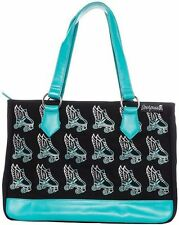 Sourpuss Flying Roller Skate Tote Bag - Teal - Rockabilly, Retro, Pin-up, Derby
