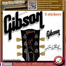 3 sticker autocollant GIBSON LES PAUL GUITARE HEADSTOCK rock decal music resto