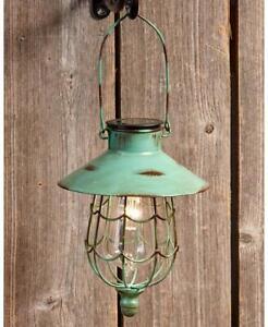 Green Rustic Hanging Solar Lantern Warm White LED Light Outdoor Yard Pathway