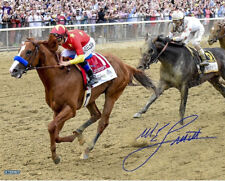 Mike Smith signed 16x20 Justify Triple Crown belmont photo autograph Steiner COA