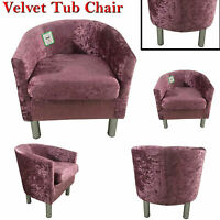 Crushed Velvet Seat Armchair Fireside Lounge Tub Chairs Living Sofa Seat Pink UK