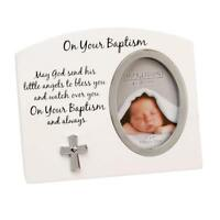 BABY'S BAPTISM PHOTO PICTURE FRAME GIFT SET POEM MESSAGE BOY GIRL BABY FW918