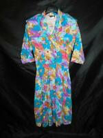 Vintage 80s Caliche XL Blue Purple Pink Floral Shirt Dress Blouson Midi 3/4 Slv
