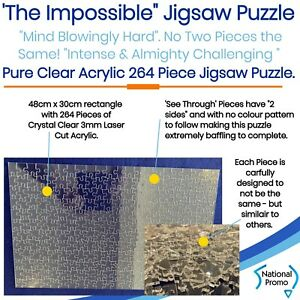 """264 Piece CLEAR ACRYLIC """"IMPOSSIBLE"""" JIGSAW PUZZLE (48cm x 30cm) RECTANGLE"""