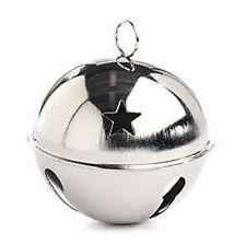 Silver Jingle Bell, 80mm (3.15 Inches), with Star Cutouts, 1 Large Piece