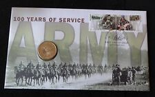 2001  B/U AUSTRALIA $1 COIN + STAMPS PNC 100 YEARS OF SERVICE ARMY