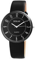 Herrenuhr Schwarz Titan-Look Metall Leder Quarz Armbanduhr X-2900077-003