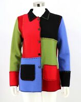 Marisa Christina Wool Cardigan Size Small Colorblock Square Sweater Womens