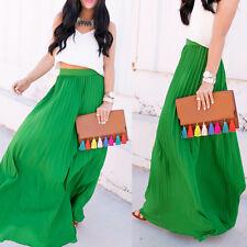 Hot Ladies High Waist Maxi Long Dress Flared Pleated Swing Long Skirt Sundress