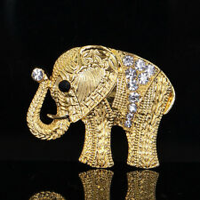 Brooch Pin Unisex Costume Accessories Fashion Women Gold Plated Crystal Elephant