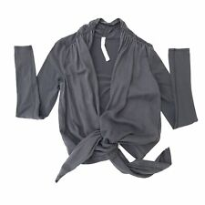 Lululemon Your Best Breath Long Sleeve Wrap Tie Front Top Size 6 Gray Yoga