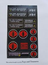 1985 GI JOE SEARS C.A.T. CRIMSON ATTACK TANK REPRO Decal Sheet