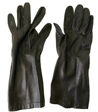 VINTAGE LADIES BLACK LONG LEATHER GLOVES.  MILORE Size 7
