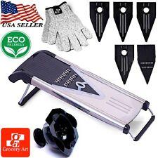 Grocery Art Stainless Steel V-Blade Mandoline Food Slicer Cutter 5 Blades+Gloves
