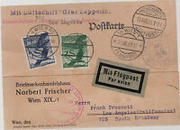 1929 Vienna Austria Graf Zeppelin postcard cover Around the World FLight