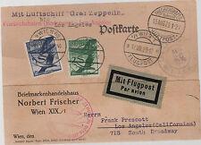 1929 Vienna Austria Graf Zeppelin postcard cover Around the World FLight