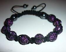 Shamballa Purple Czech Crystal Bracelet - Bangle