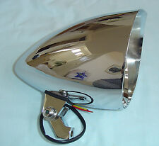 "Billet Motorcycle Halogen Lamp Head Light ""Hoodlum"" for Harley & Custom Choppers"
