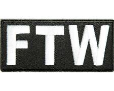 "(C22) FTW 3.25"" x 1.5"" iron on patch (1491) F*CK THE WORLD  Biker Jacket Vest"