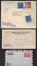 BHUTAN 1950's 3 CVRS OFFICIAL STAMPLESS ROYAL GOVT MINISTRY OF FOREIGN AFFAIRS &
