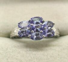 Gorgeous 9ct White Gold And Seven Stone Tanzanite Cocktail Ring
