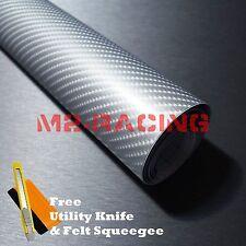 "*24""x60"" 4D Gloss Silver Carbon Fiber Sticker Decal Car Vinyl Wrap Air Release"