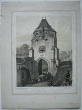 Strasbourg Porte blanche interieure Orig Lithografie Müller 1840 Elsass Alsace