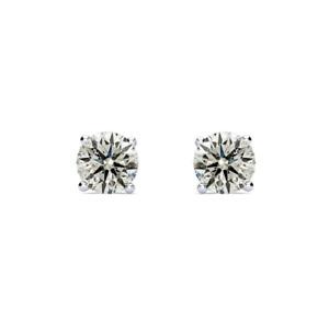 New Arrived!! Pretty 3/4 Carat Diamond Stud Earrings In 14 Karat White Gold