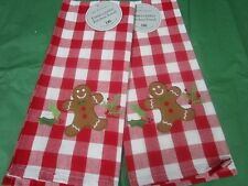"""** CHRISTMAS Kitchen Towels ** Gingerbread Man Towels""""   *SET of 2*  NEW  by DII"""