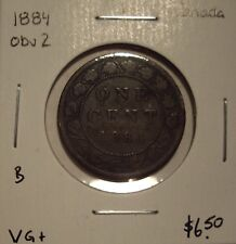 B Canada Victoria 1884 Obv 2 Large Cent - VG+