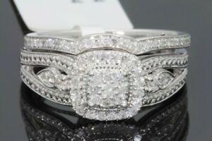 10K WHITE GOLD .36 CT WOMEN REAL DIAMOND ENGAGEMENT RING WEDDING BAND BRIDAL SET