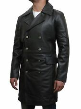 Men's Double Breasted Long Collared Leather Coats & Jackets