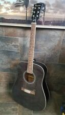 Maestro by Gibson Full Size Acoustic Guitar. Black w/ Design. Model Manv41D