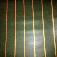 Vintage Wallpaper Green Gold  Stripes by Clarence House
