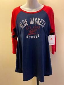 New Columbus Blue Jackets Womens Size M Medium Blue Maternity Shirt
