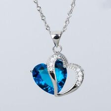 Crystal Blue Stone For Women Girls Statement Jewelry Necklace Chain Long