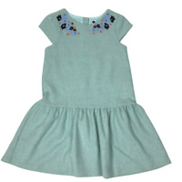 Janie And Jack Girls Size 10 Floral Embroidered Wool Herringbone Dress Teal Blue