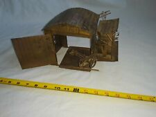 Vintage 1978 Copper Tin Distressed Metal Airport Music Box with Moving Plane.